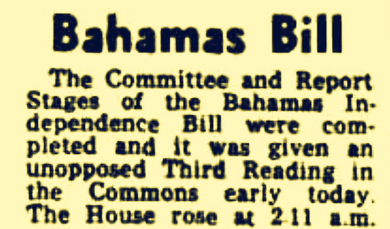 10.12 p.m. House of Commons, London: Bahamas Independence Bill Read Lord Balniel Begins…15 May 1973