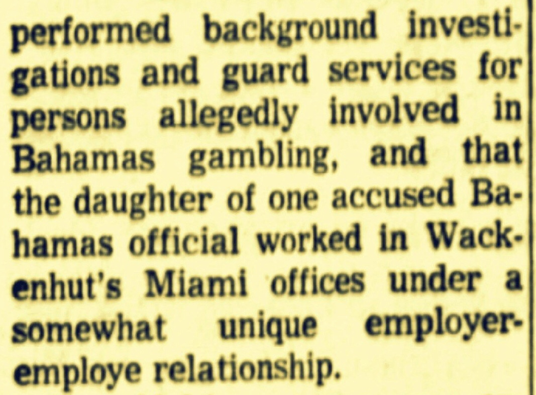 Stafford Sands Hired Private Police For Bahamas Government  Work And Later To Protect His Daughter From Her Husband 1967
