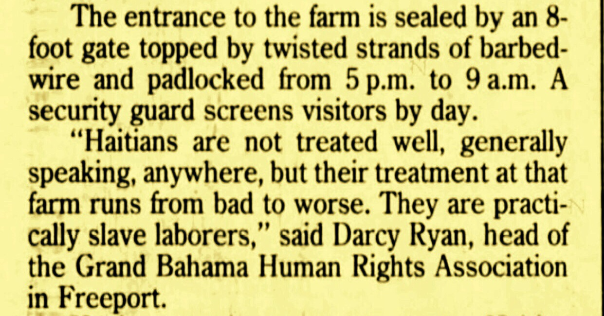 Whatever Happened To The 200 Haitian Pickers on the Bahama Star Citrus Farm in Abaco 1993