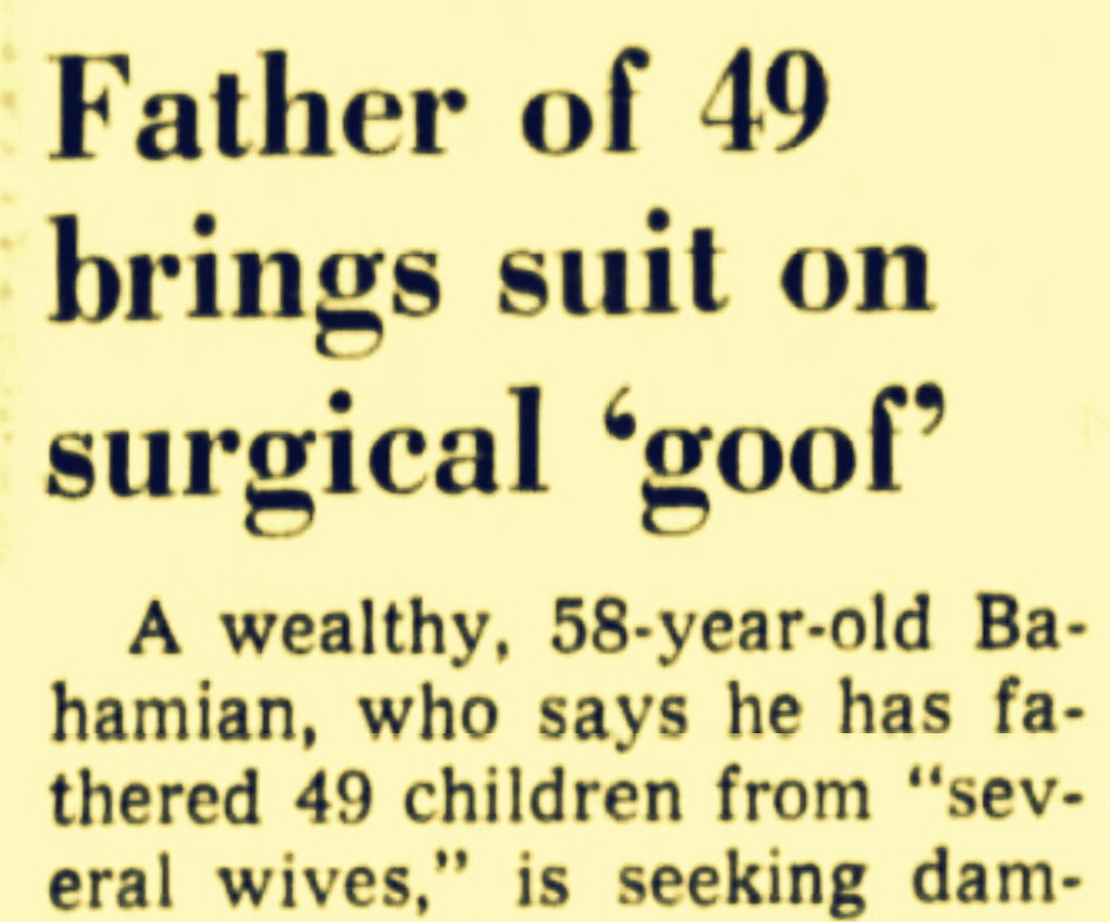 Wealthy Bahamian Negro and Father of 49 Children Claims Hospital Wrongly Removed Testicle 1970