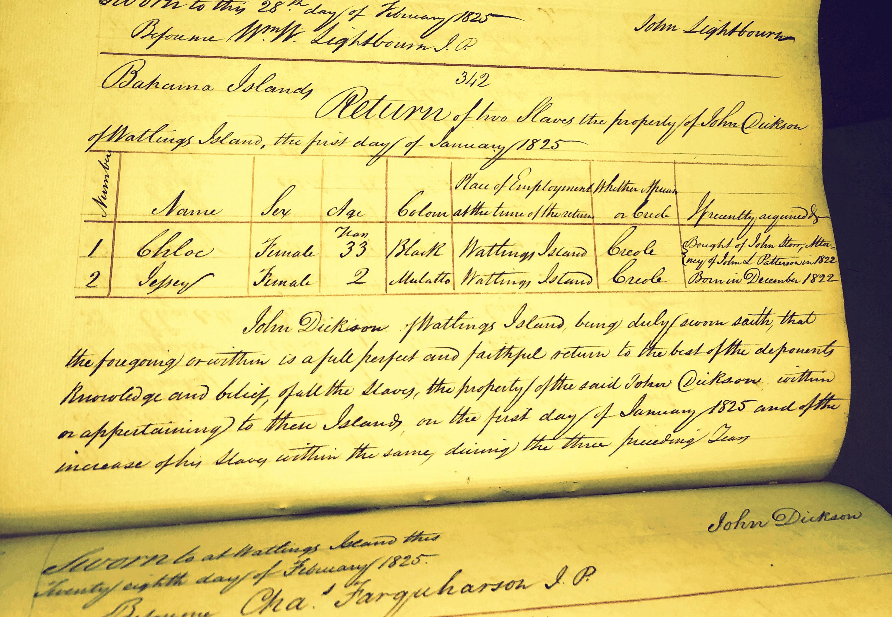 Chole, Black Female Slave Sold Early 1822, Mulatto Baby Jessie, Born December 1822 Watlings Island, Bahamas
