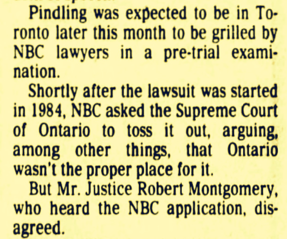 Prime Minister Pindling Drops His $4m Canadian Filed Defamation Lawsuit Against American Television Station NBC 1989