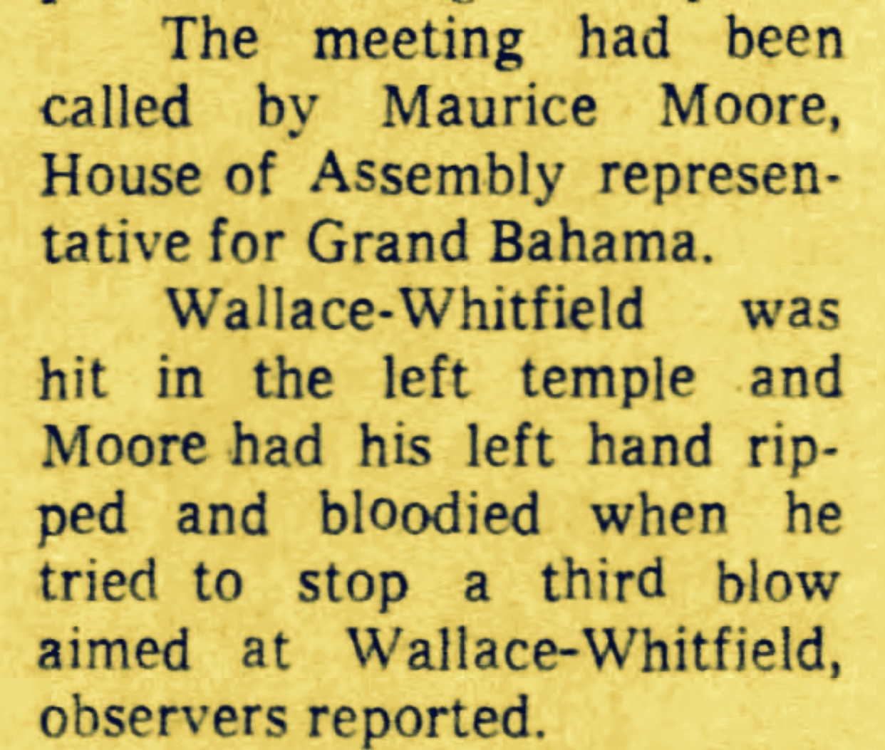 Resigned PLP Education Minister Cecil Wallace-Whitfield Beaten When Ten Men Try To Stop Political Meeting –  Freeport November 1970