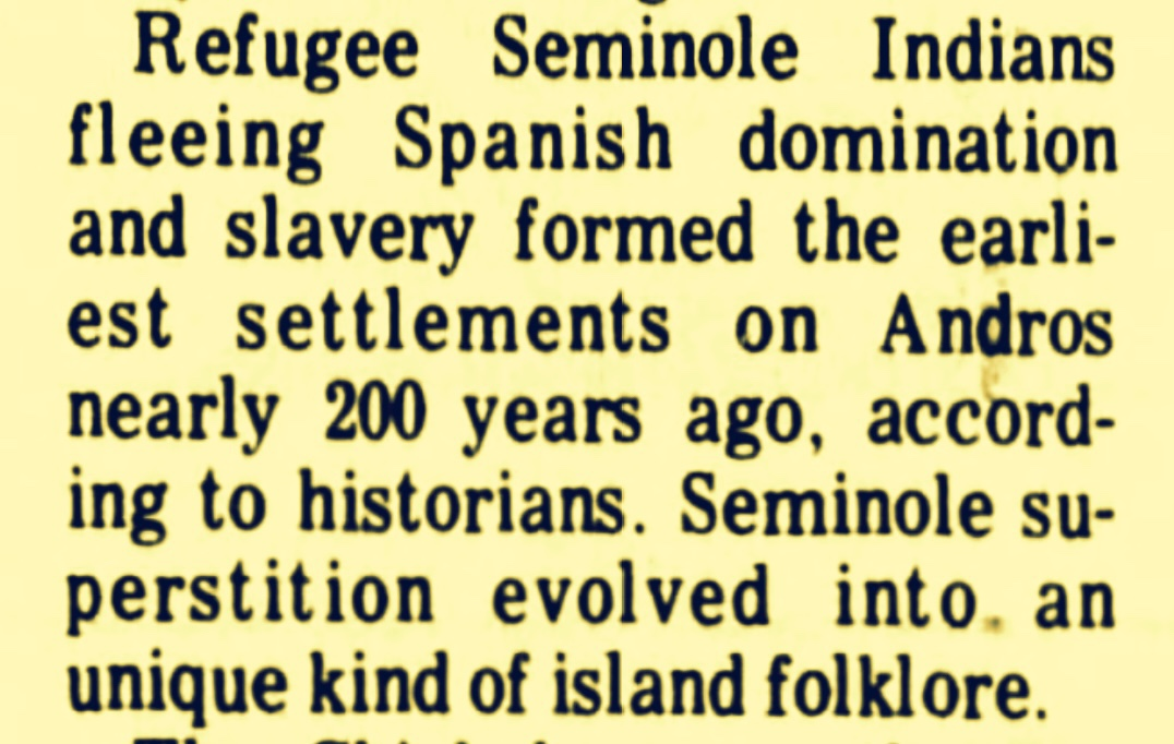 Monetising History (1821-2021): Two Hundred Years Since the Seminoles Settled Andros, Time To Capitalise on Chickcharney, Bosee-Amasee and Yahoos Folklore