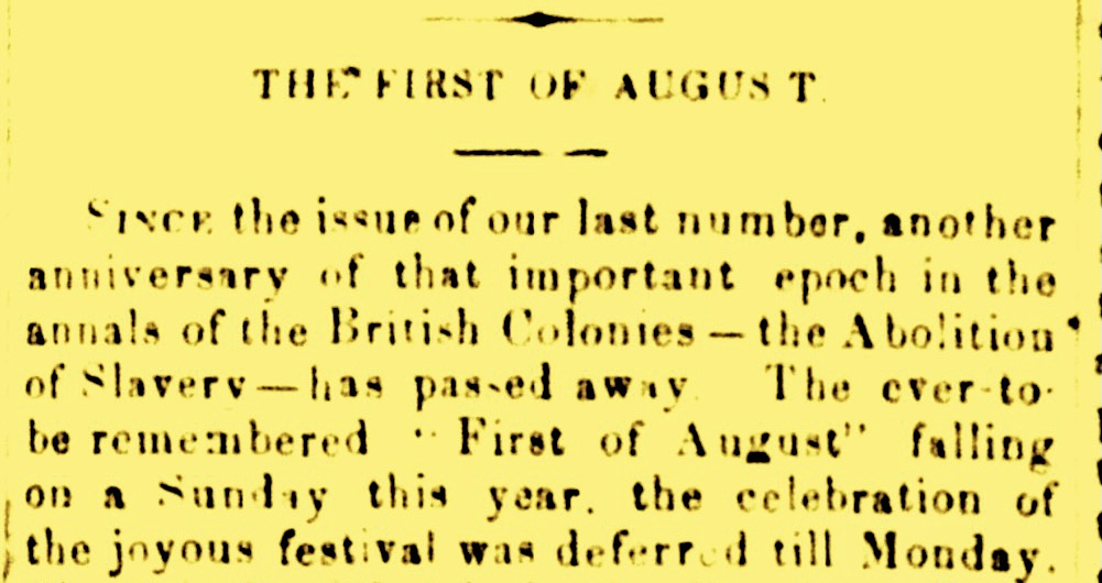 First of August Eventually Became Emancipation Day