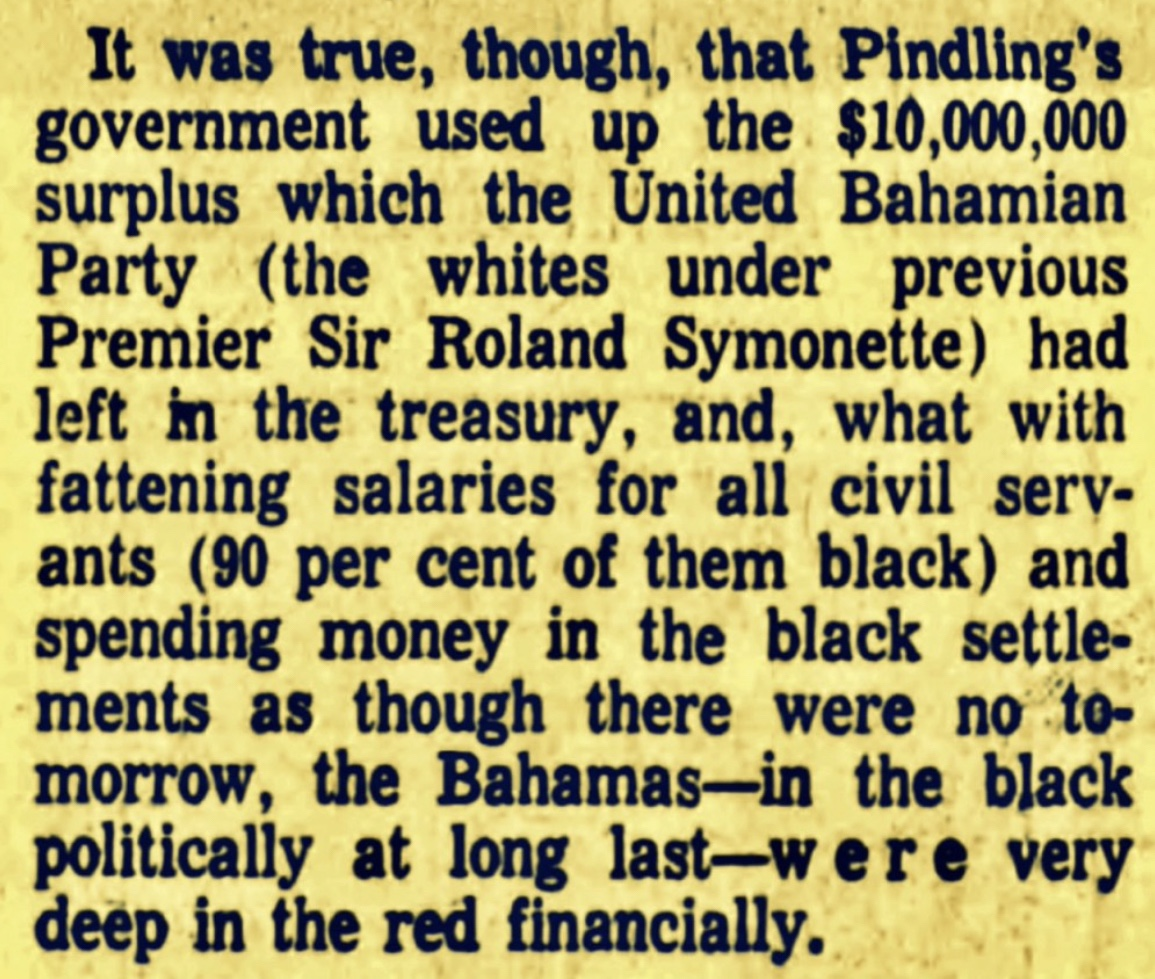 The White Man's Economics- UBP $10 million Government Surplus in 1967 But Still Voted Out Boasting 75% Negro Membership