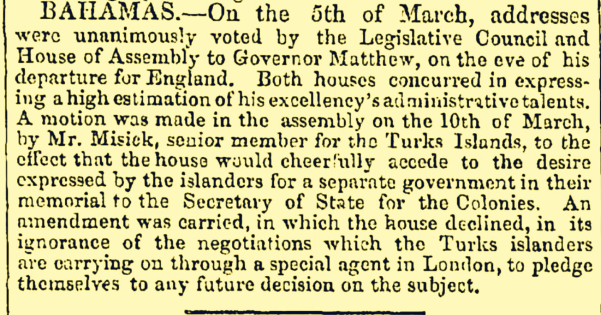 Turks and Caicos Forced To Pay Separation Debt To Nassau To Be Free Of Bahama Islands 1848
