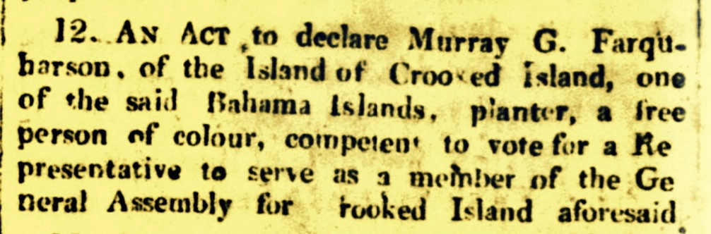 Vote Granted To Murray G. Farquharson, Free Person of Colour, By An Act of the Assembly Was Undoubtedly Political 1830