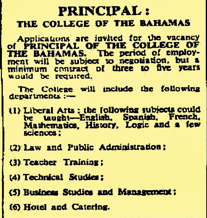 Advertisement for Principal of new College of Bahamas – Salary B$14,000 per year – 1969